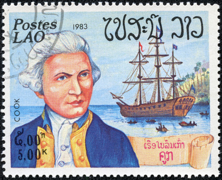 postes: LAOS - CIRCA 1983  a postage stamp printed in Laos showing an image of James Cook first european to travel to Australia, circa 1983