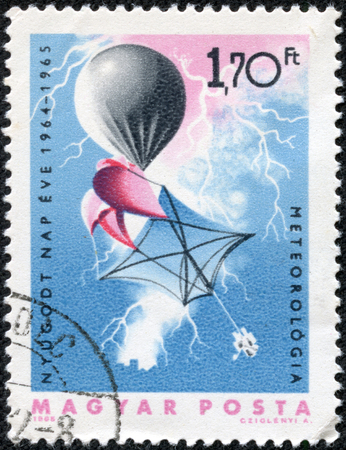 HUNGARY CIRCA 1965  stamp printed by Hungary, shows Weather balloon and lightning, meteorology, circa 1965