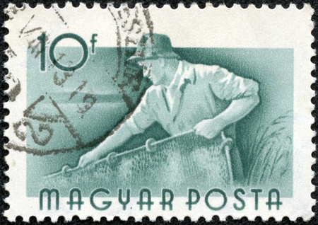 magyar: HUNGARY - CIRCA 1959  Green color stamp printed in Hungary with image of a river fisherman, circa 1959