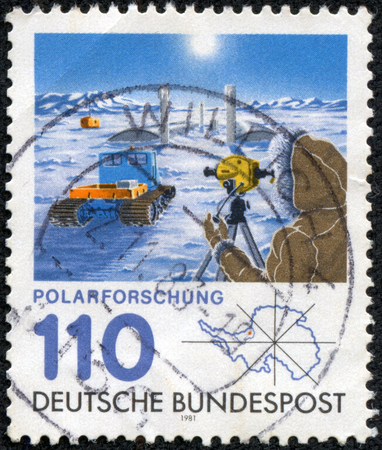 polar station: GERMANY - CIRCA 1981  a stamp printed in the Germany shows Georg von Neumayer polar research station, circa 1981