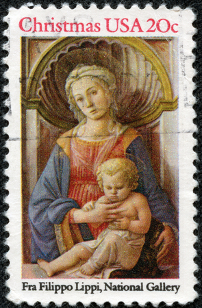 USA - CIRCA 1984  A postage stamp printed in USA, Christmas Issue, shows a picture of the National Gallery,  Madonna and Child  by Fra Filippo Lippi, circa 1984