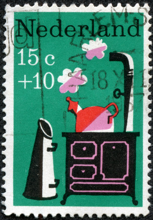 rhyme: NETHERLANDS - CIRCA 1967  a stamp printed in the Netherlands shows Little Whistling Kettle, Nursery Rhyme, circa 1967