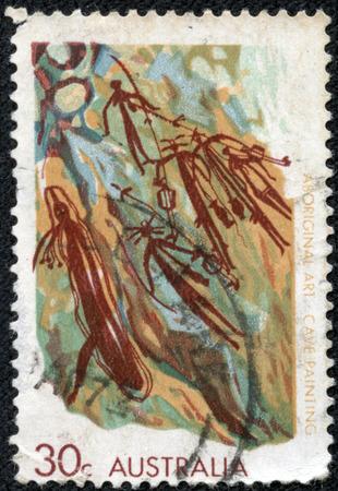 cave painting: AUSTRALIA - CIRCA 1971 Un timbro stampato in Australia mostra il dipinto Cave, Western Arnhem Land, Aboriginal Art serie, circa 1971