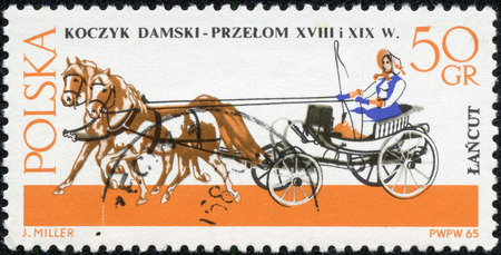 brougham: POLAND - CIRCA 1965  a stamp printed in Poland shows old chariot - chaise  XVIII-XIX century , circa 1965