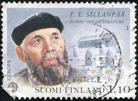 frans: FINLAND - CIRCA 1980  stamp printed by Finland, shows Portrait of Writer Frans Eemil Sillanpaa, circa 1980
