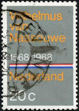 orange nassau: NETHERLANDS - CIRCA 1968  A stamp printed in the Netherlands issued for the 400th anniversary of Dutch National Anthem shows Wilhelmus van Nassouwe, circa 1968