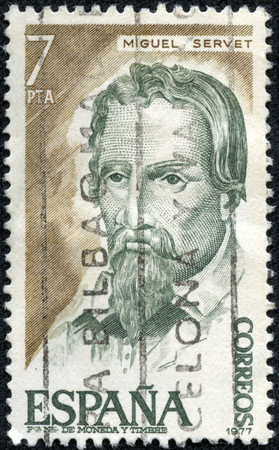 theologian: SPAIN - CIRCA 1977  A stamp printed in Spain ,shows a portrait of Miguel Servet medical,philosopher and theologian,circa 1977