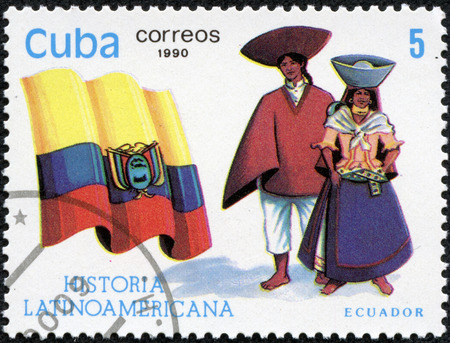 CUBA - CIRCA 1990  A stamp printed in Cuba dedicated to Latin American history, shows typical costume and flag of Ecuador, circa 1990