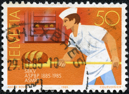 baker's: SWITZERLAND - CIRCA 1985  A stamp printed by Switzerland, shows Swiss Master Bakers and Confectioners Federation, circa 1985 Editorial