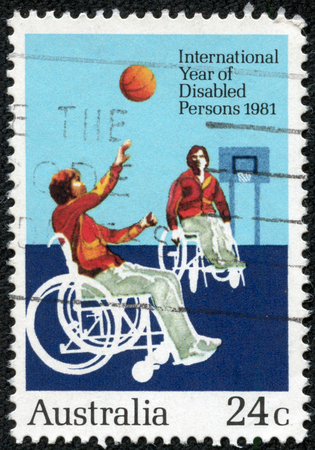 AUSTRALIA - CIRCA 1981  Postage stamp printed in Australia, dedicated to the International Year of Disabled, shows disabled athlete, circa 1981