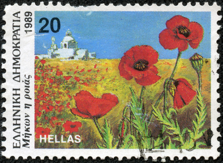 GREECE - CIRCA 1989  A stamp printed in Greece from the  Wild Flowers  issue shows corn poppy  Papaver rhoeas , circa 1989  photo