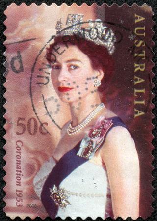 AUSTRALIA - CIRCA 2003 A stamp printed in Australia shows Queen Elizabeth II in crown, circa 2003
