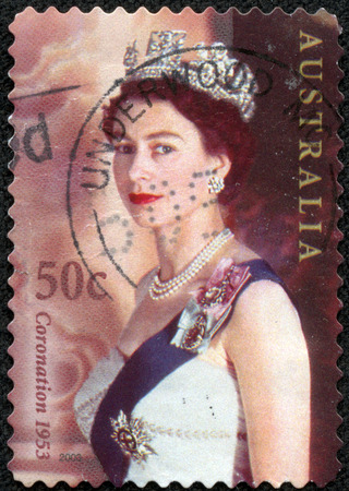 AUSTRALIA - CIRCA 2003 A stamp printed in Australia shows Queen Elizabeth II in crown, circa 2003