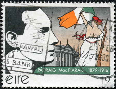 irish easter: IRELAND - CIRCA 1979  A stamp printed in the Ireland shows Patrick Henry Pearse, Irish Writer and leader of Easter Rebellion, circa 1979