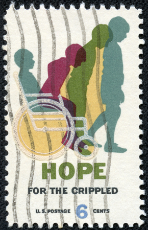 USA - CIRCA 1969  A stamp printed in USA shows Cured Child, Hope for Crippled Issue, Issued to encourage the rehabilitation of crippled children and adults, circa 1969 photo