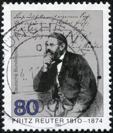 bundes: GERMANY - CIRCA 1985  A stamp printed in Germany issued for the 175th death anniversary of Fritz Reuter shows writer Fritz Reuter, circa 1985  Editorial