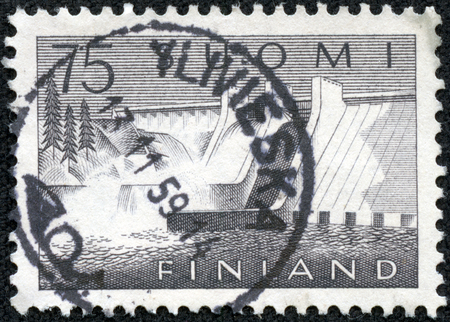 FINLAND - CIRCA 1959  a stamp printed in the Finland shows Pyhakoski Power Station, circa 1959 photo
