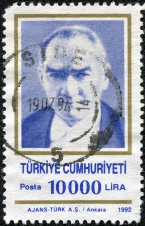 mustafa: TURKEY - CIRCA 1992  A stamp printed in Turkey shows Mustafa Kemal Ataturk, circa 1992