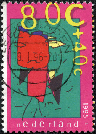 NETHERLANDS - CIRCA 1995  A stamp printed in the Netherlands shows Children s Computer Drawings  The Schoolteacher  Leonie Ensing , circa 1995 photo