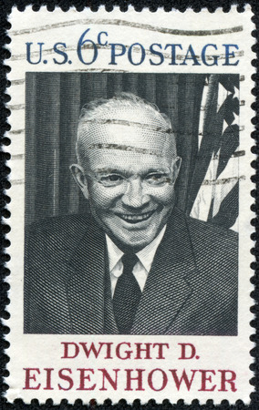 eisenhower: USA - CIRCA 1969  A postage stamp printed in USA, shows the 34th President of the United States, Gen  Dwight D  Eisenhower, circa 1969 Editorial