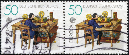 GERMANY - CIRCA 1979  stamps printed in Germany shows Telegraph office in 1863, circa 1979 photo
