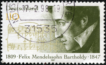 felix: GERMANY - CIRCA 1997  A stamp printed in the German Federal Republic shows Felix Mendelssohn Bartholdy composer, circa 1997 Editorial
