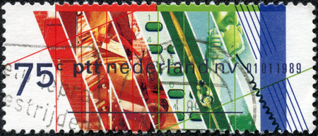 privatization: NETHERLANDS - CIRCA 1989  Stamp printed in Netherlands honoring Privatization of Netherlands PTT  Postal and Telecommunications Services, circa 1989 Editorial