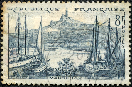 FRANCE - CIRCA 1955  a stamp printed in the France shows Port Marseilles, circa 1955 photo