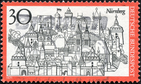 bundes: GERMANY - CIRCA 1971  a stamp printed in the Germany shows View of Nuremberg, Town in Bavaria, circa 1971 Stock Photo