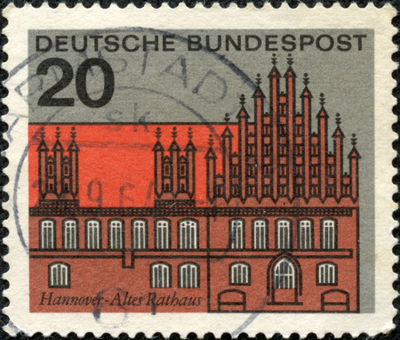 GERMANY -CIRCA 1964  Stamp printed in Germany shows graphic of the Old Court House in Hanover, circa 1964  Hanover on the river Leine, is the capital of the federal state of Lower Saxony, circa 1964