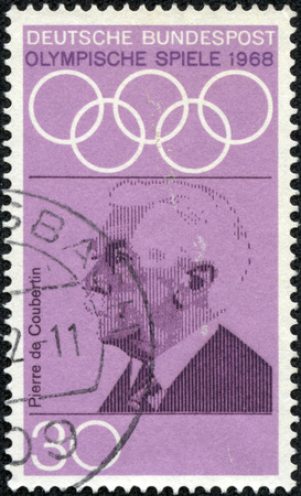 coubertin: GERMANY - CIRCA 1968  A stamp printed in Germany from the  Olympic Games  1972  Promotion Fund  1st series   issue shows Pierre de Coubertin  founder of Olympics , circa 1968