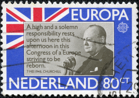 minister of war: HOLLAND - CIRCA 1980  A stamp printed in Netherlands shows Sir Winston Churchill, circa 1980