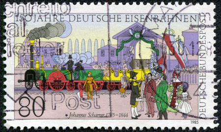 philatelic: FEDERAL REPUBLIC OF GERMANY - CIRCA 1985  A stamp printed in the Federal Republic of Germany shows Johannes Scharrer  1785-1844 , 150 years of German railway, circa 1985