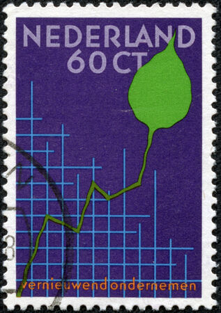 congress: NETHERLANDS - CIRCA 1984  a stamp printed in the Netherlands shows Graph and Leaf, International Small Business Congress, Amsterdam, circa 1984