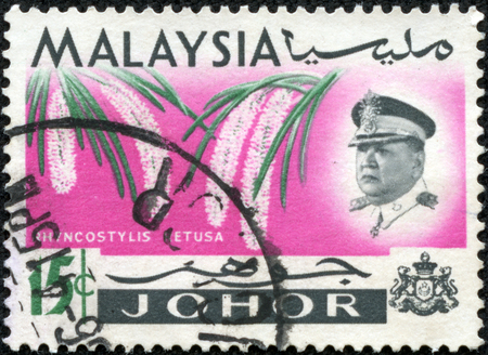 inset: MALAYSIA - CIRCA 1965  A stamp printed in Johore state of Malaysia shows Inset portrait of Sultan Ismail and Rhynchostylis retusa  also called Foxtail Orchid , circa 1965