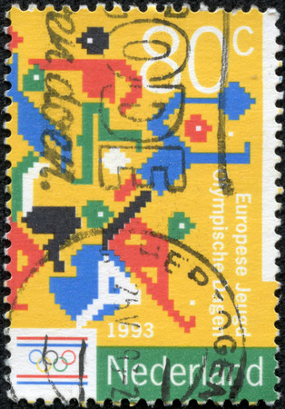 NETHERLANDS - CIRCA 1993  Stamp printed in Netherlands devoted 3rd European Youth Olympic Days, shows Sports pictograms  different  , circa 1993