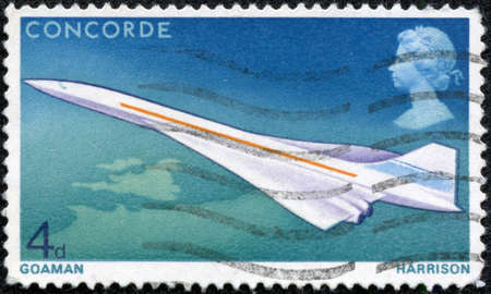 lasted: UNITED KINGDOM - CA  1969  Postage stamp ca  1969 showing the supersonic Concorde aircraft which entered official service not until 1976 and lasted till 2003