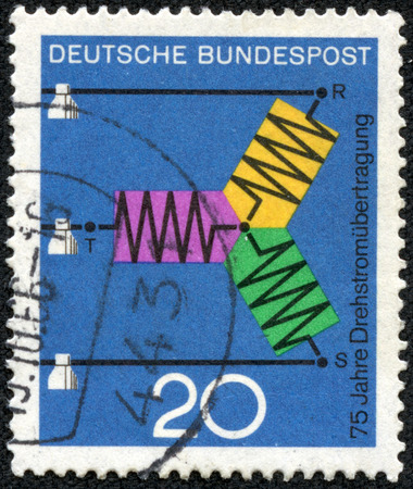 three phase: GERMANY - CIRCA 1966  A stamp printed in Germany from the  Scientific anniversaries  2nd series   issue shows diagram of A C  Transmission  75th anniversary , circa 1966  Stock Photo