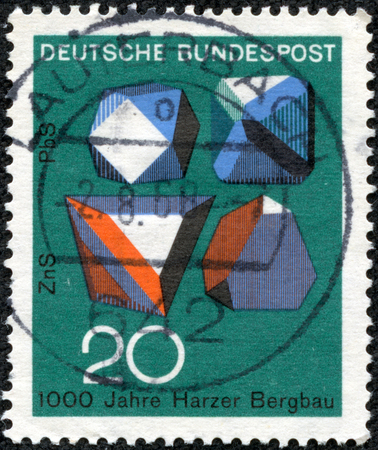 sphalerite: GERMANY - CIRCA 1968  A stamp printed in Federal Republic of Germany honoring 1000 years of Harzer Bergbau mines, shows Ore Crystals, Millenary of ore mining in Harz Mountains, circa 1968