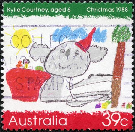 AUSTRALIA - CIRCA 1988  a stamp printed in the Australia shows Koala Wearing a Santa Hat, by Kylie Courtney, Childrens Design, Christmas, circa 1988