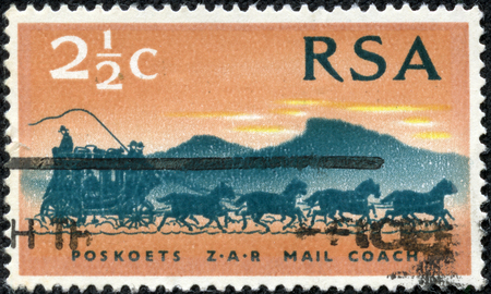 rsa: SOUTH AFRICA - CIRCA 1969  A stamp printed in South Africa  RSA  honoring Centenary of First Stamps of the South African Republic  Transvaal , shows Mail Coach , circa 1969 Editorial