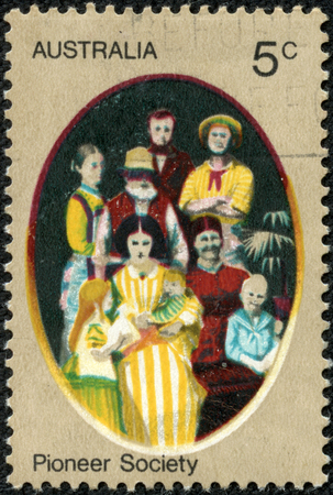 AUSTRALIA - CIRCA 1972 A Cancelled postage stamp from Australia illustrating Pioneer life in Australia, issued in 1972  Editorial