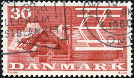 DENMARK - CIRCA 1960  A stamp printed in DENMARK honoring 1st Danish Food Fair, shows Combine-harvester, circa 1960