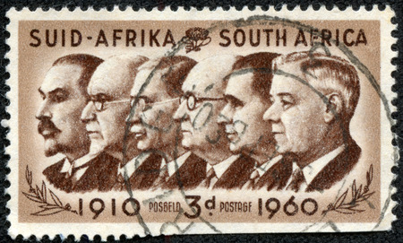smuts: SOUTH AFRICA - CIRCA 1960  A stamp printed in South Africa, is dedicated to the 50th anniversary of the Union, show Prime Ministers Botha, Smuts, Hertzog, Malan, Strydom and Verwoerd, circa 1960