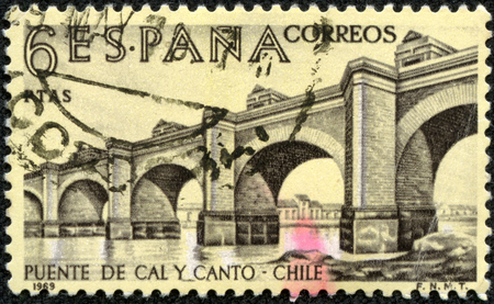 canto: SPAIN - CIRCA 1969  A stamp printed in Spain from the  Explorers and Colonizers of America  9th series   issue shows Cal y Canto Bridge, Chile, circa 1969