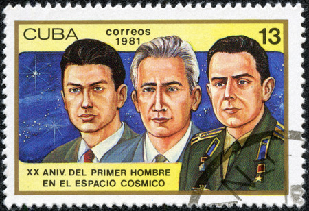 boris: CUBA - CIRCA 1981  a stamp printed in the Cuba shows Konstantin Feoktistov, Boris Yegorov and Vladimir Komarev, Voskhod 1 Crew, 20th Anniversary of 1st Man in Space, circa 1981