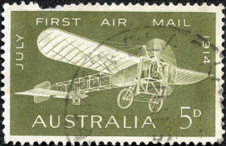 monoplane: AUSTRALIA - CIRCA 1964  A stamp printed in Australia shows a Bleriot monoplane illustration printed to commemorate the 50th anniversary of the first air mail flight in Australia, circa 1964  Editorial
