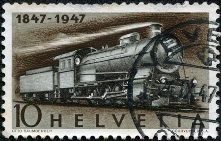 overprint: SWITZERLAND - CIRCA 1947  A stamp printed in Switzerland shows image of a Steam Freight Locomotive, circa 1947