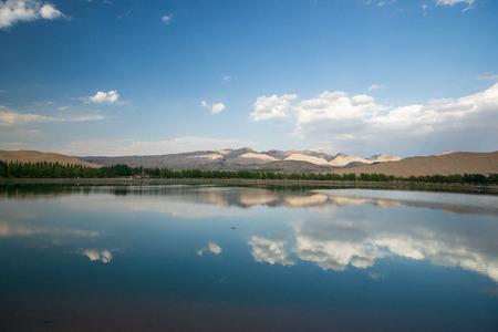 desert and lake scenery,Inner Mongolia,china photo