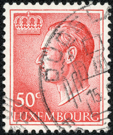 LUXEMBOURG - CIRCA 1965: A stamp printed in Luxembourg shows a portrait of Grand Duke Jean, circa 1965.